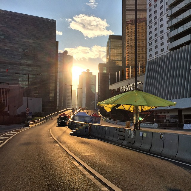 #dawn breaks on #OccupyHK #Admiralty. This section of the protest camp is set to be cleared in a few days time. #HongKong #hk #hkig #morning #sunrise
