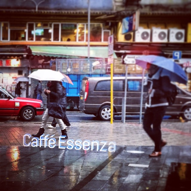 The weather conditions have aligned to create the #hologram #mirage again, advertising #CaffeEssenza on this #rainy #KwunTong morning. #hongkong #hk #hkig