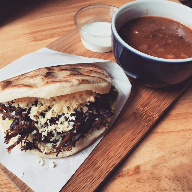 Coffee pulled-beef with avocado stuffed #arepas with a side of beans at #33Cafe in #CausewayBay. #HongKong #hk #hkig #latinfood
