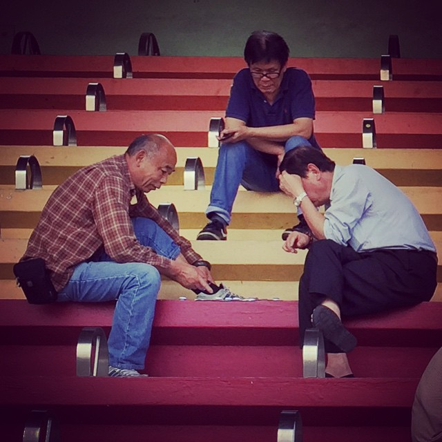 #old #men play Chinese #chess on #stadium seats in #ShamShuiPo. #HongKong #hk #hkig