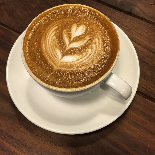 A #cappuccino at #CafeHayfever. A little #cafe tucked away in a #florist and gift shop in the #FlowerMarket area of #Mongkok. #HongKong #hk #hkig #coffee