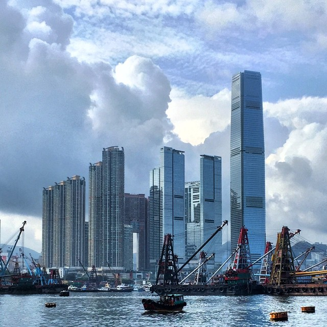 #ICC #tower and the rest of the #Kowloon west commercial area with a backdrop of #clouds. #HongKong #hk #hkig