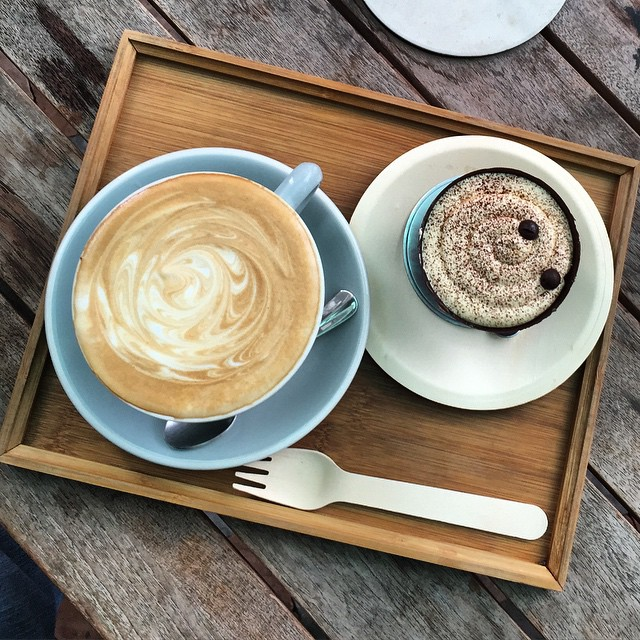 #tiramisu and a #latte at #KellyAndMoss a small #cafe at the #ZeroCarbonPark in #KowloonBay. #HongKong #hk #hkig #coffee