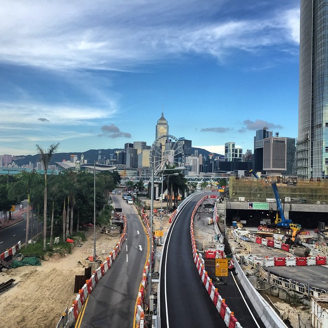 A slightly different view of #Central, #HongKong. #WanChai and the harbour front #ferriswheel up ahead. The #road still under construction. #HK #hkig
