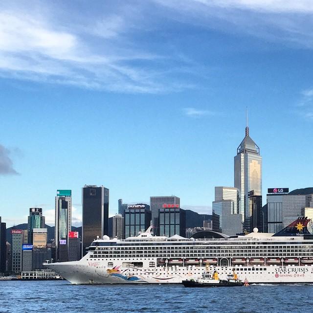 #StarCruises #SuperStarVirgo #cruises through #VictoriaHarbour in #HongKong, passing by #WanChai. #HK #hkig #ship #cruiseship