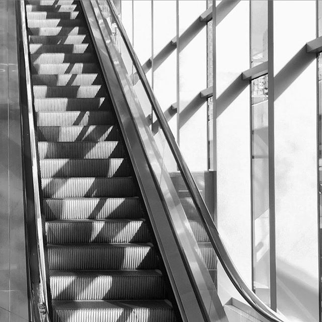Light and #shadow. The #escalator in the #morning light. #HongKong #hk #hkig #mono