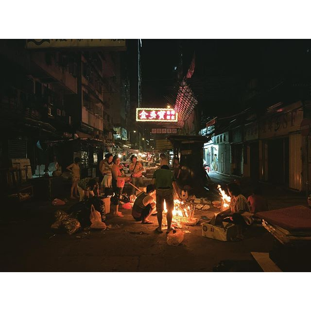 #HungryGhost Festival in #HongKong - burnt offerings at night at the #CantonStreet #streetmarket. #hk #hkig