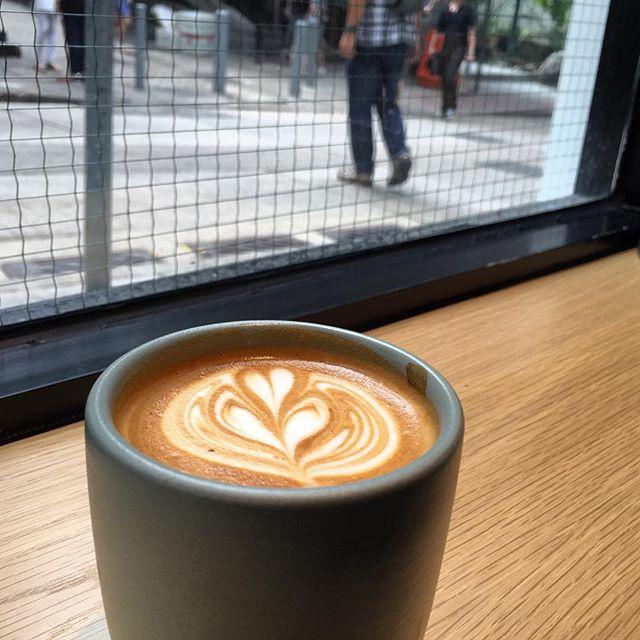 A #latte in a #ceramic #mug at #CuppingRoom #cafe in Central, #HongKong. #HK #hkig #coffee