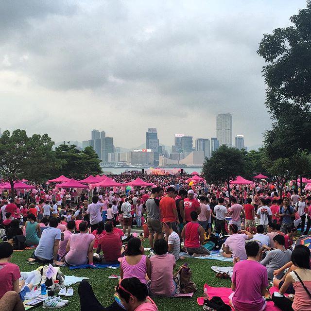 A sea of #pink at #TamarPark for #Pinkdot 2015 in #HongKong. #HK #hkig