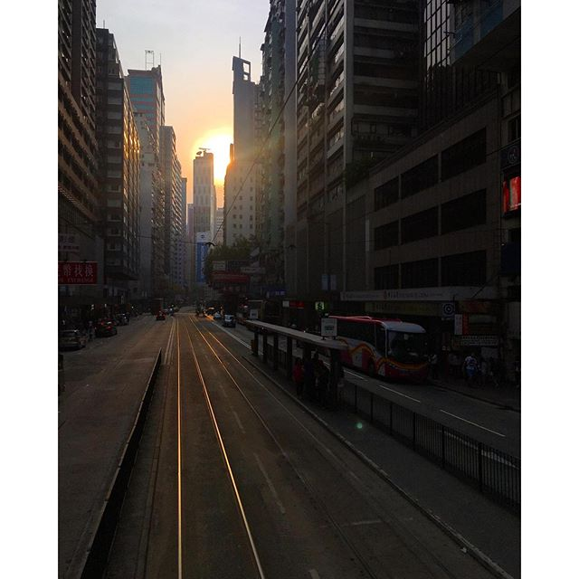 #evening on the border of #CausewayBay / #WanChai. The view of the #sun setting in an #urbanvalley as seen from the #tram. #hongkong #hk #hkig #sunset