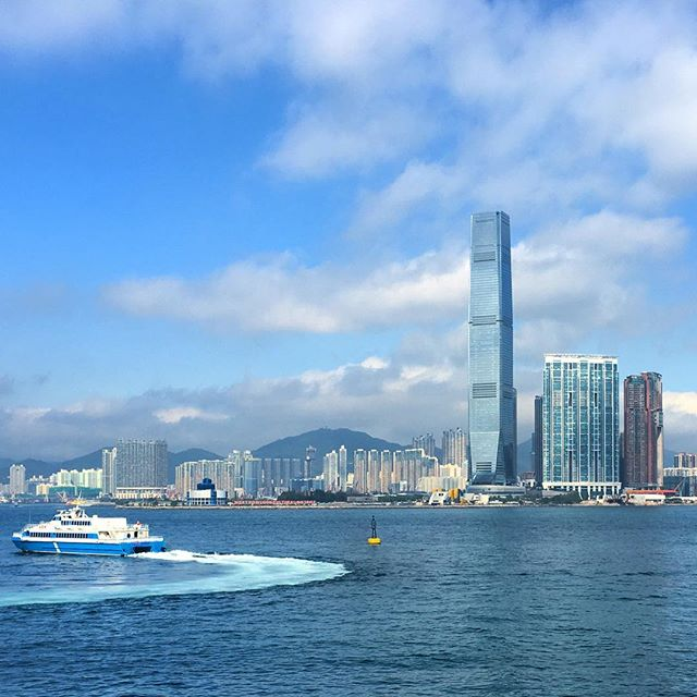 A #ferry heads off to Macau from #VictoriaHarbour in #HongKong. #ICC #tower and #kowloon loom in the distance. #HK #HK