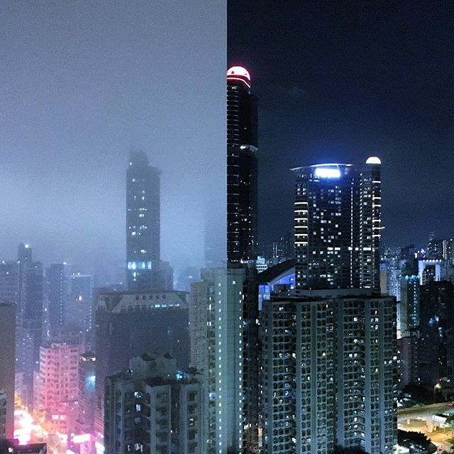 #Mongkok #LanghamPlace - on a #foggy 98% #humidity night and on clear low humidity night. #HongKong #hk #hkig #contrast