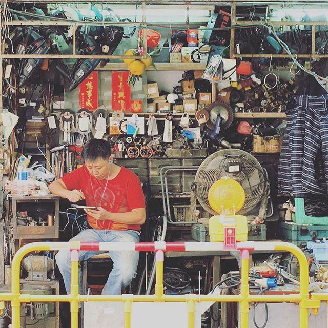 #hardwareshop #man waiting for customers in #Mongkok. #hardware #tools #HongKong #hk #hkig
