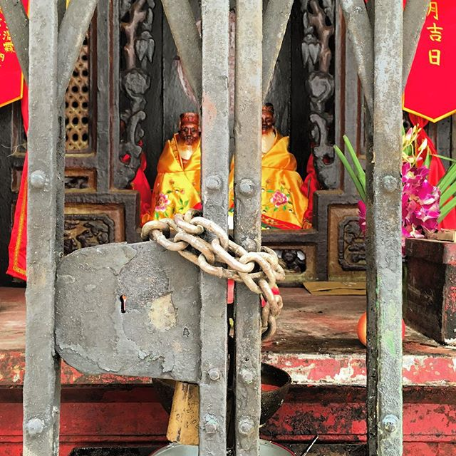 #gated #gods - a #padlocked #shrine off #TaiPingShanStreet. #hongkong #hk #hkig