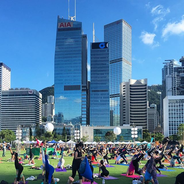 #summer evening #yoga in #Central, #hongkong. #HK #hkig