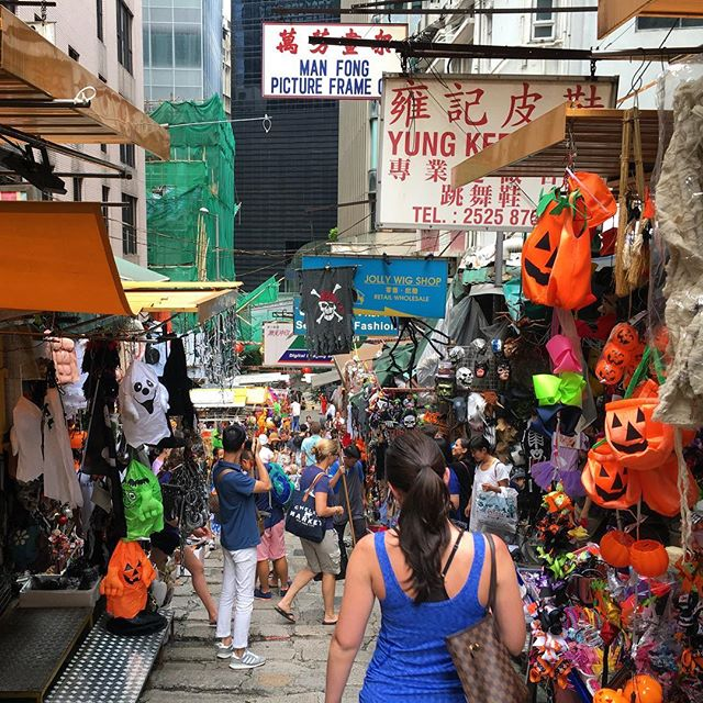 #Halloween #Street - the #costume #stalls on #PottingerStreet have gone whole-hog for Halloween. Being the last weekend before it hits, they're doing brisk business. #hongkong #hk #hkig