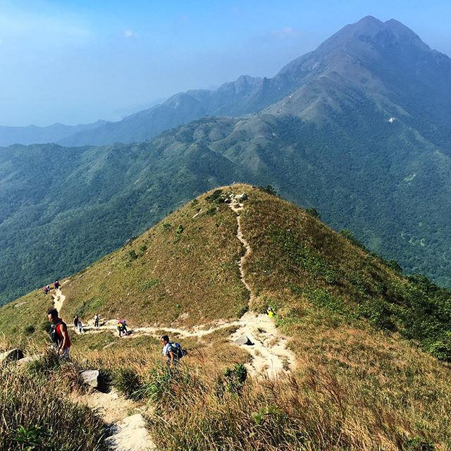 #Hiking #HongKong - the #Lantau #trail. The view coming down from #SunsetPeak heading towards #LantauPeak. That large hill in the distance? That's Lantau Peak, 2nd highest peak in #HK. #hkig #LantauTrail