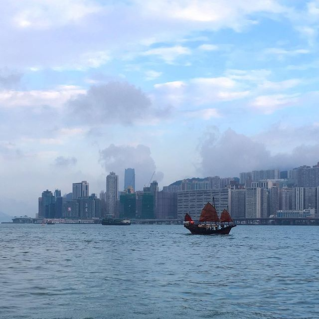 View of #NorthPoint from #HungHomPromenade  with a #junk floating across #VictoriaHarbour. This place is accessible from the new Whampoa MTR station. #hongkong #hk #hkig