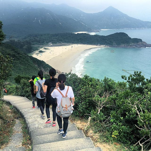 Descent to #TaiLongWan / #BigWaveBay #beach in the #SaiKung Country Park. Unlike Long Ke Beach, this isn't close to any road and you can only get here by #hiking along the #MacLehose #trail Section 2 or by hiring a boat from Sai Kung town. #hk #hkig #hongkong #MacLehoseTrail